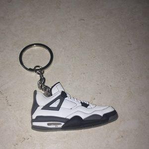 """jordan 4s """"white/cement"""" keychain"""